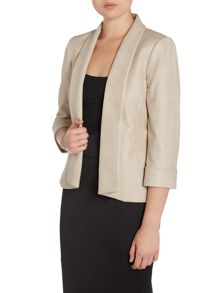 Tahari ASL Beige Blazer With Long Line Collar