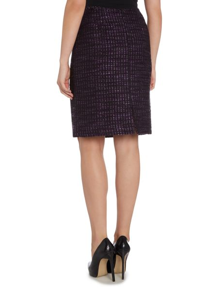 Tahari ASL Black, and Purple Check Boucle Skirt