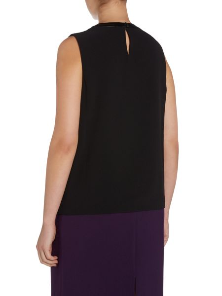 Tahari ASL Black Sleeveless Top With Pleather Collar and Mes