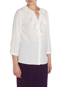 Tahari ASL White Ruffle Collar Long Sleeved Button Shirt