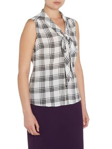 Tahari ASL Ivory and Black Checked Top with Tie Collar