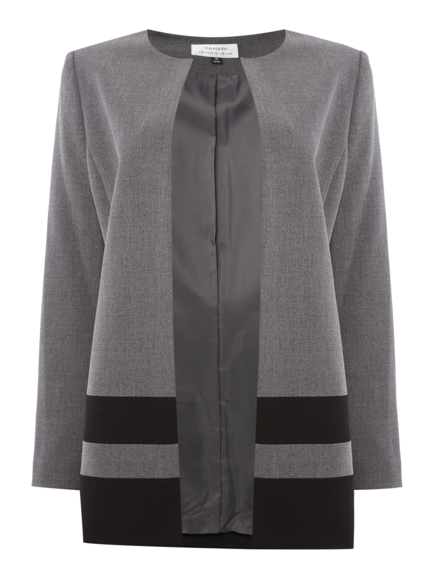Tahari ASL Lightweight Topper Coat With Black Striped Hem, Grey