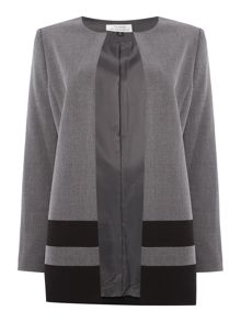 Tahari ASL Lightweight Topper Coat With Black Striped Hem