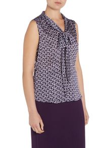 Tahari ASL Sleeveless Pattern Top With Tie Neck