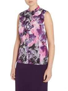 Tahari ASL Sleeveless Pattern Shirt With Ruffle Neck.