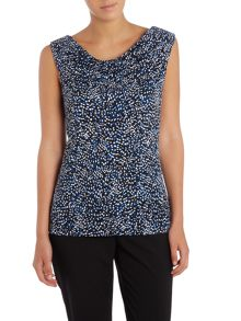 Tahari ASL Sleeveless Pattern Shirt With Cowl Neck.