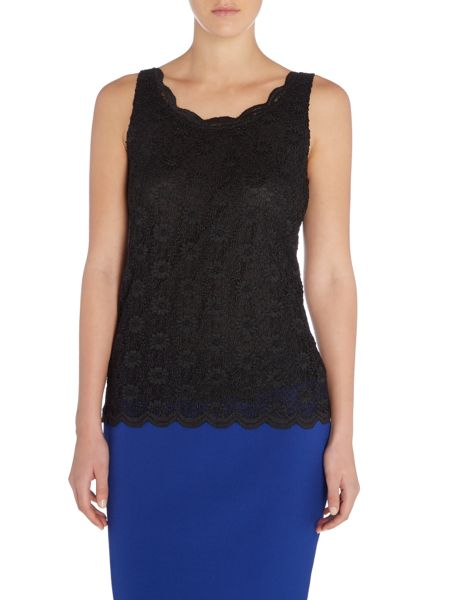 Tahari ASL Floral Lace Sleeveless Top