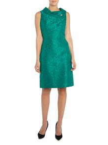 Tahari ASL Emerald Jacquard Print Dress