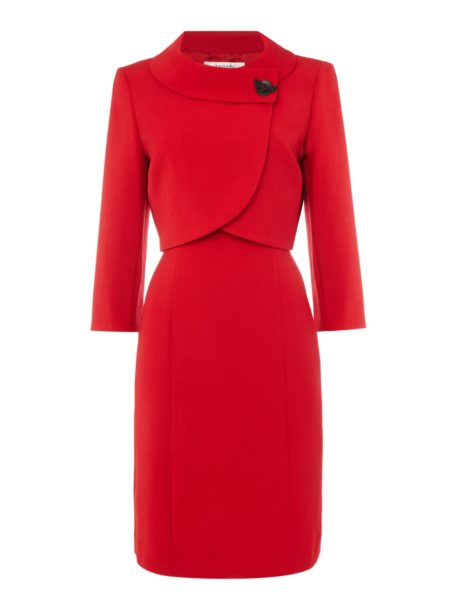 Tahari ASL Red Dress and Jacket Co-Ordinate Red £253.00 AT vintagedancer.com