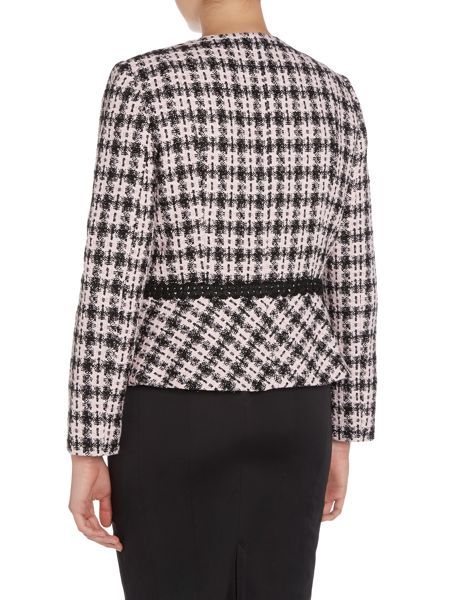 Tahari ASL Checked Blazer With Lace Details