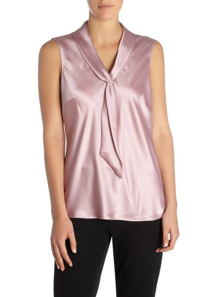 Tahari ASL Sleeveless Top With Tie Neck