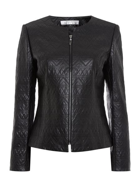 Tahari ASL Faux Leather Quilted Jacket