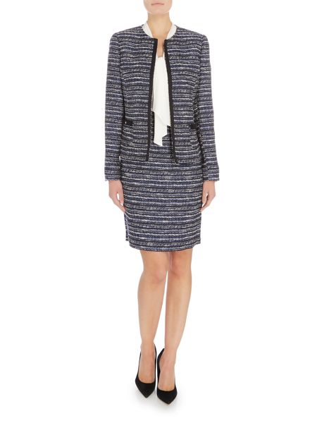 Tahari ASL Black, Ivory and Royal Blue Striped Boucle Blazer
