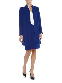 Tahari ASL Blue Funnel Neck Topper Coat