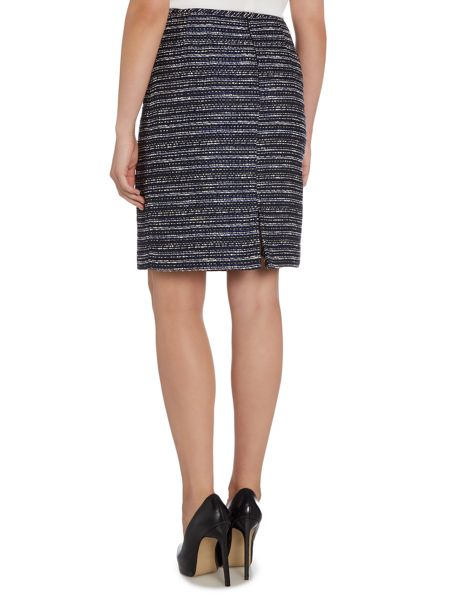 Tahari ASL Black, Ivory and Royal Blue Striped Boucle Skirt