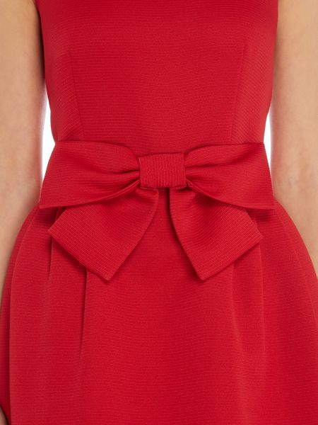 Tahari ASL Fit And Flare Bow Dress