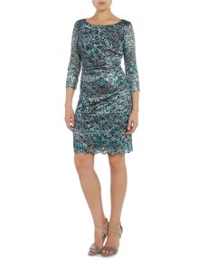 Tahari ASL Ruched Foil Lace Long Sleeved Dress
