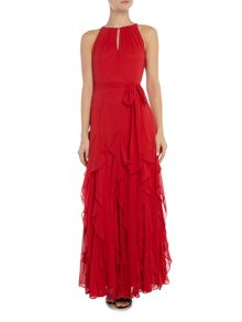 Tahari ASL Long Dress With Sequined Collar
