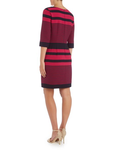 Tahari ASL Striped Long Sleeved Dress