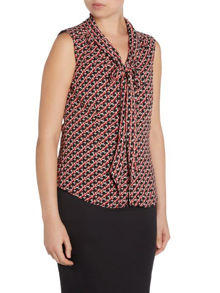 Tahari ASL Black, Ivory, and Red Sleeveless Patterned Top Wi