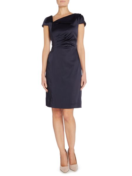 Tahari ASL Ruched Waist Sateen Dress