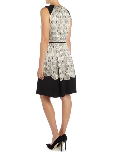 Tahari ASL Jacquard Fit And Flare Dress