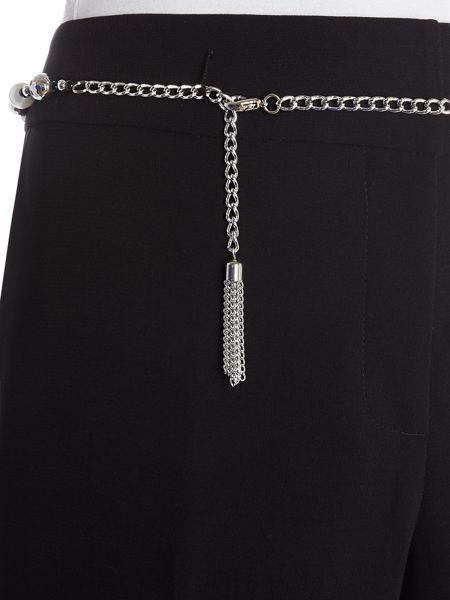 Tahari ASL Trousers with Gold Chain Belt