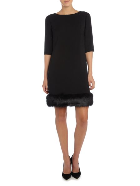 Tahari ASL Faux Fur Trimmed Short Sleeved Dress