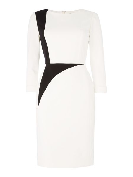 Tahari ASL Long Sleeved Monochrome Dress