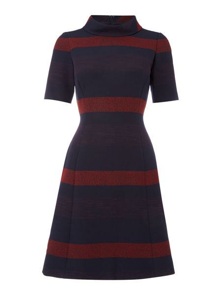 Tahari ASL Double Woven Funnel Neck Stripe Dress