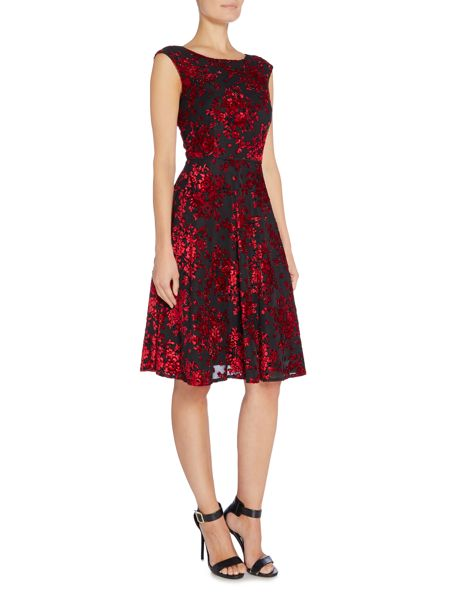 Tahari ASL Floral Boat Neck Fit and Flare Dress