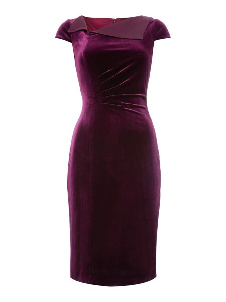 Tahari ASL Ruched Waist Velvet Dress In A Rich Purple Colour