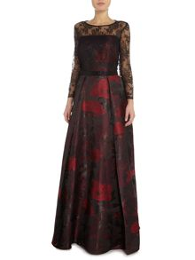 Tahari ASL Floral Ball Gown With Illusion Lace Bodice
