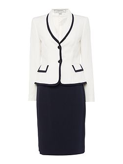Contrast Trim Blazer And Pencil Skirt Suit