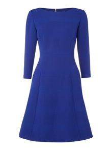 Tahari ASL Long Sleeved Ribbed Fit and Flare Dress