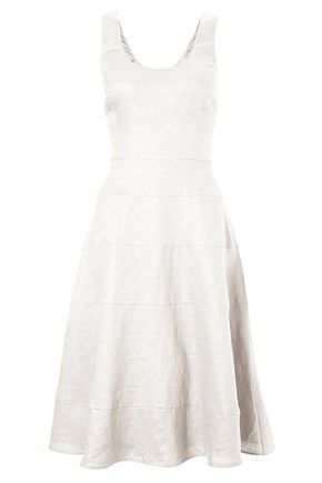 Sandbanks linen tiered dress