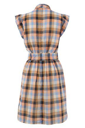 Cookie check short sleeve flared dress