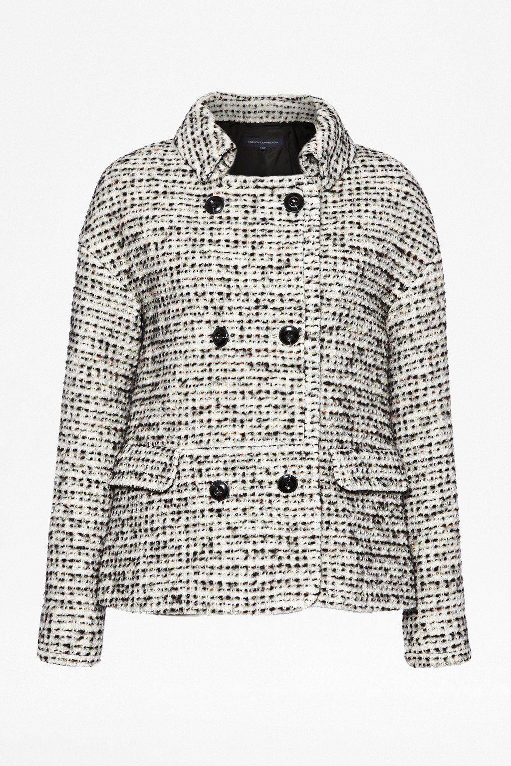 Electric check boucle coat