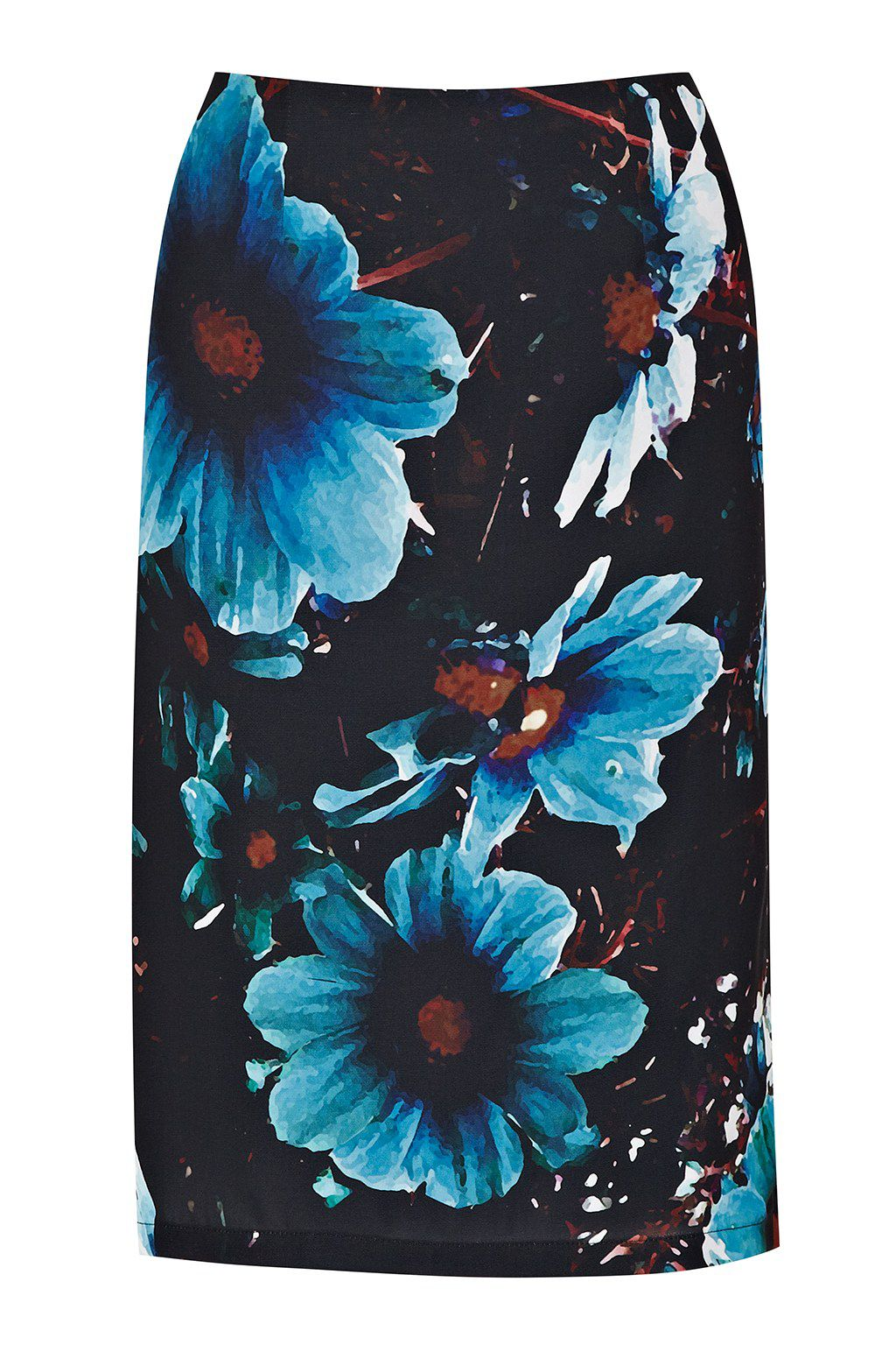Winter daisy print pencil skirt