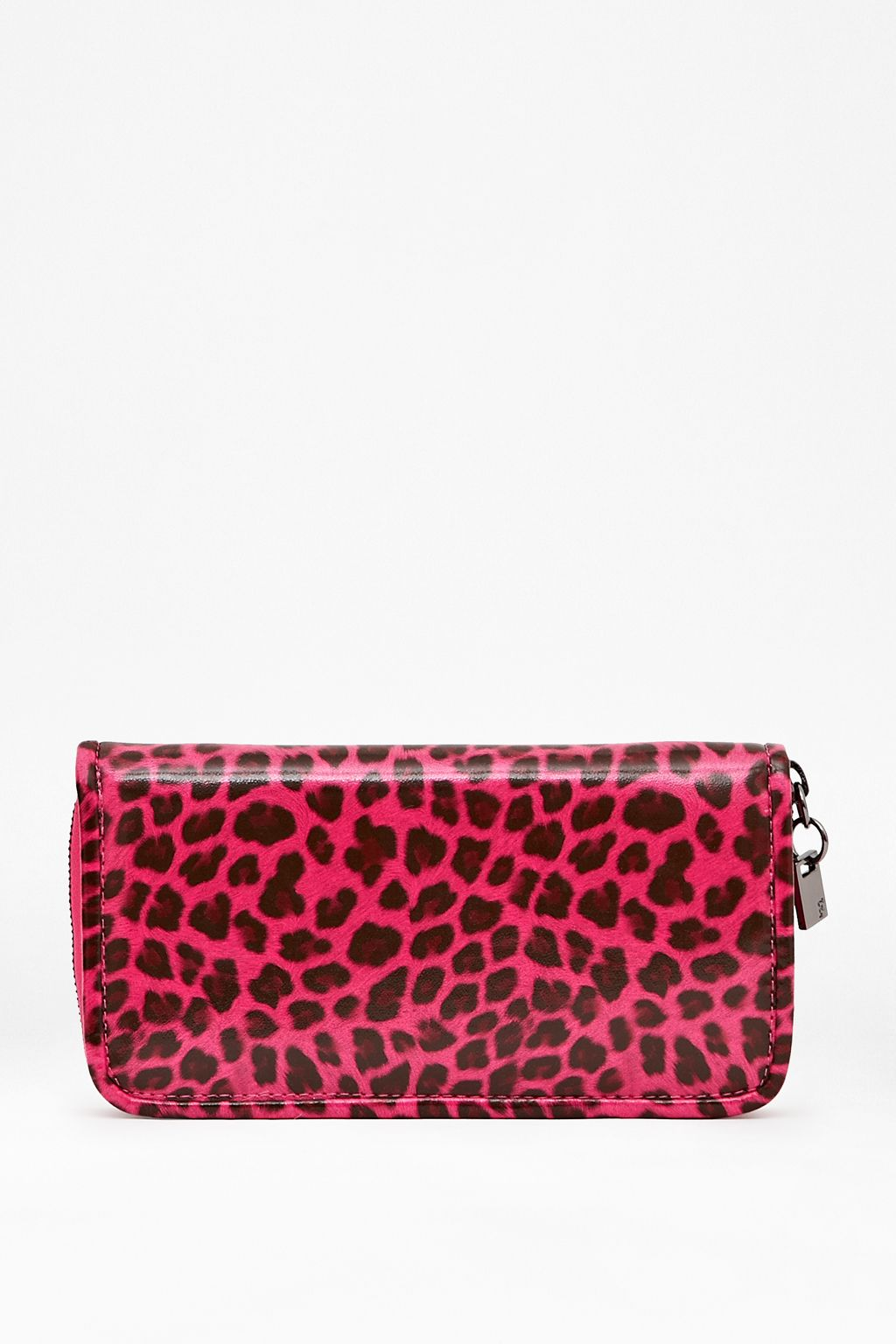 Animal print zip long wallet