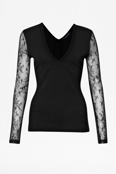French Connection Hot lace longsleeve v neck top