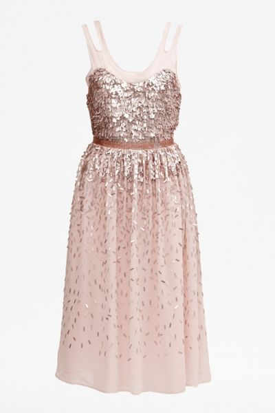 French Connection Shimmer shower strappy midi dress