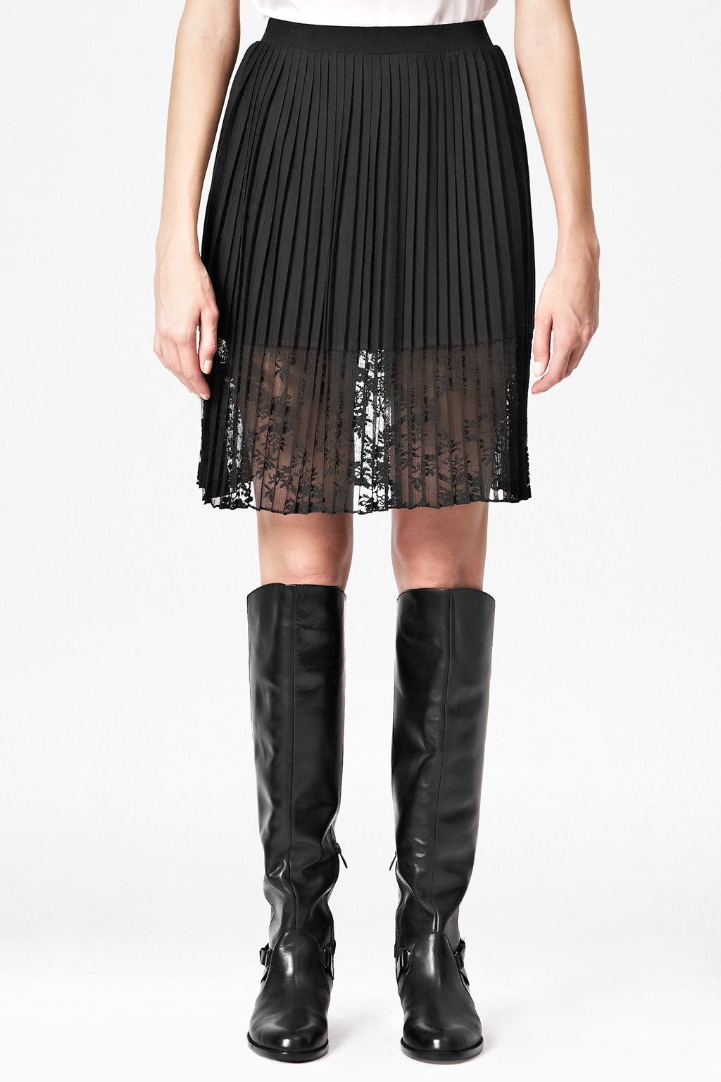 Pleated jersey lace skirt