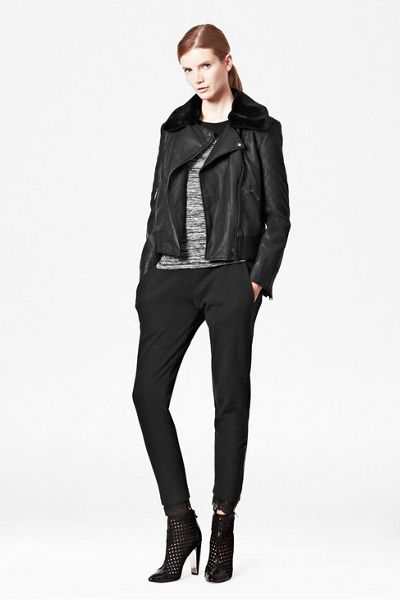 French Connection Fast jet faux fur collar quilted jacket