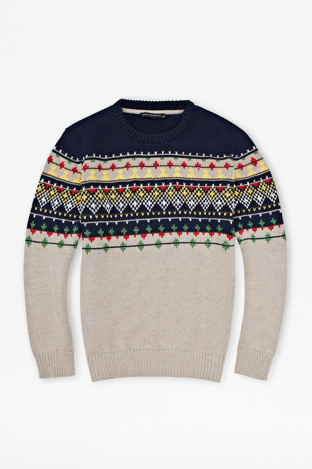 Embroidered stripe knit jumper