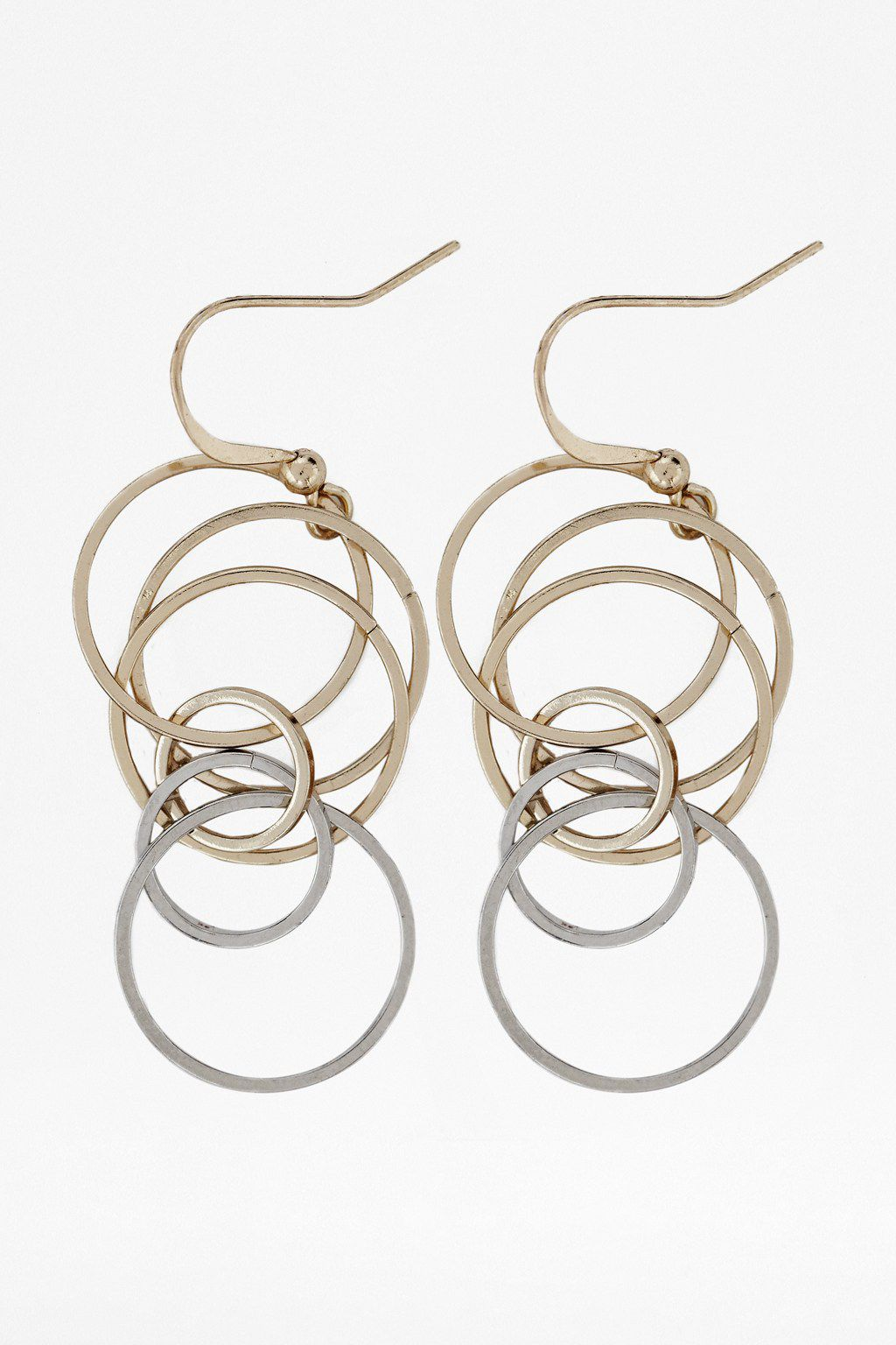 Squarecut org ring drop earrings