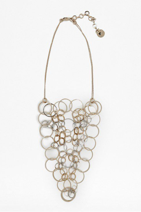 Squarecut org ring collar necklace