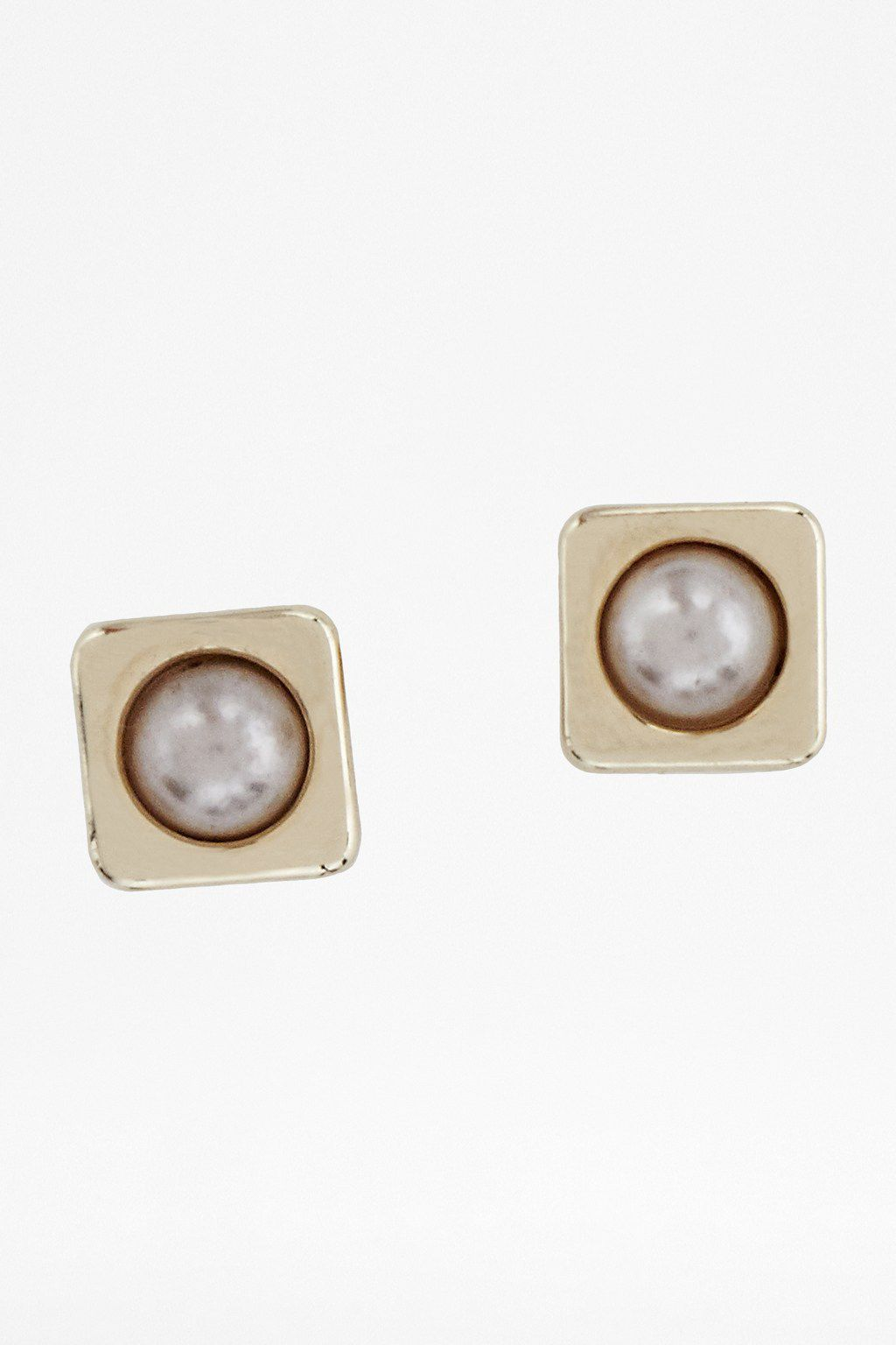 Square pearl inlay square stud earrings
