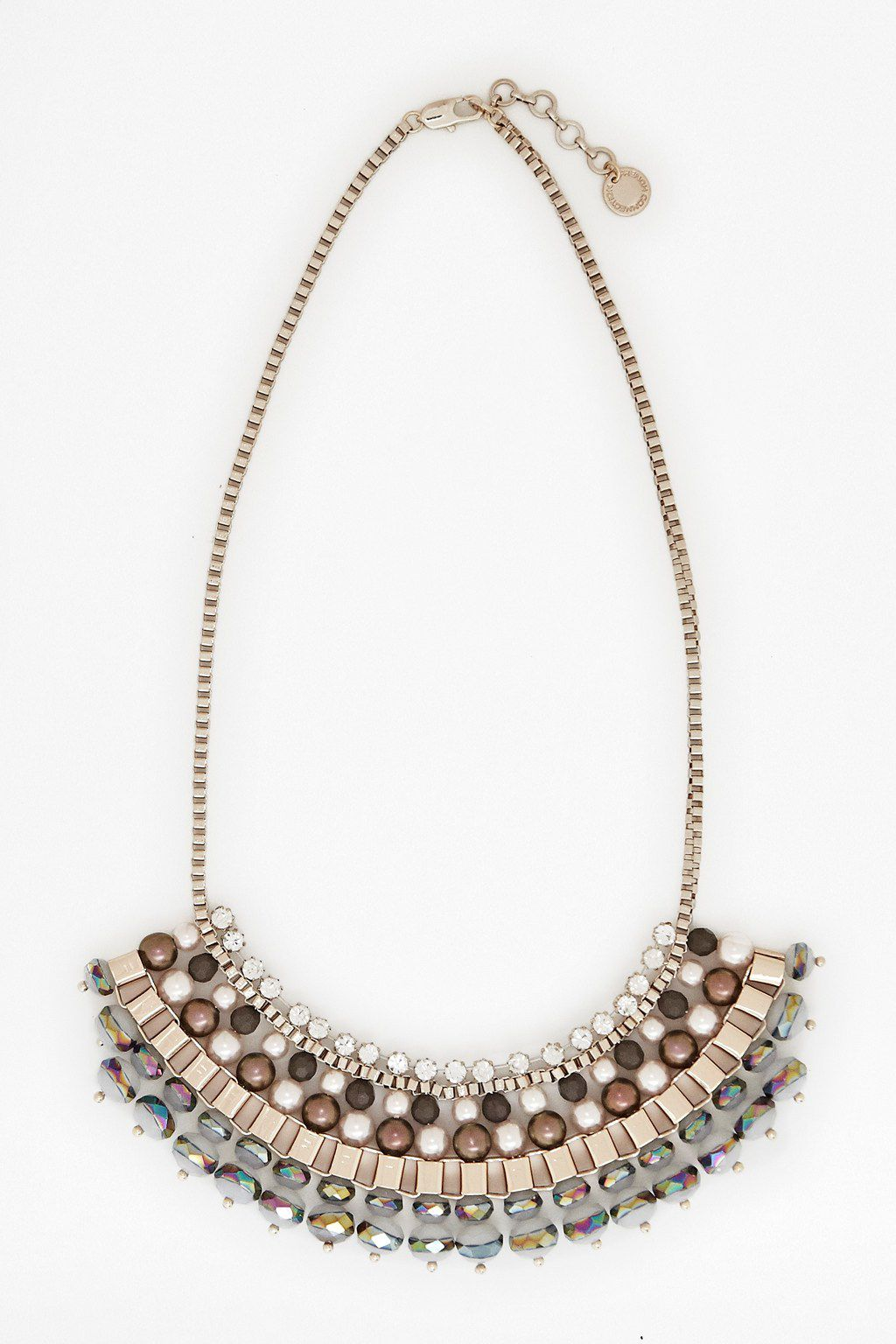 Ombre pearl box chain collar necklace