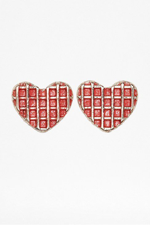 Grid overlay headt stud earrings